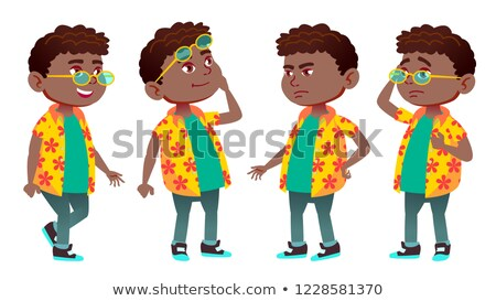 Boy Schoolboy Kid Poses Set Vector. Black. Afro American. Primary School Child. Schoolchild. Lecture Stock photo © pikepicture