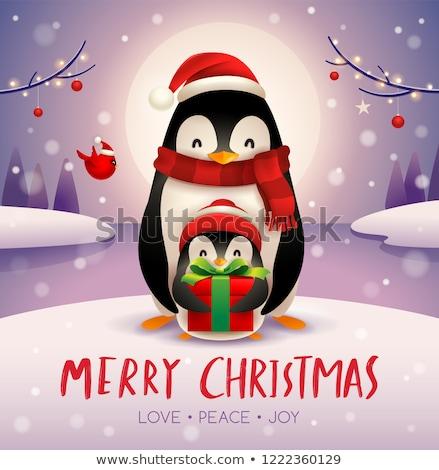 взрослый · пингвин · ребенка · лунный · свет · Рождества · снега - Сток-фото © ori-artiste