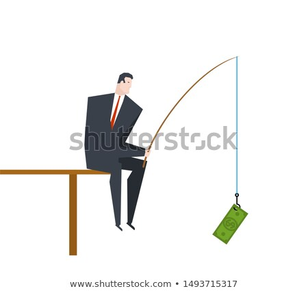 Businessman is fishing Profit. boss is sitting with fishing rod  Stock photo © MaryValery