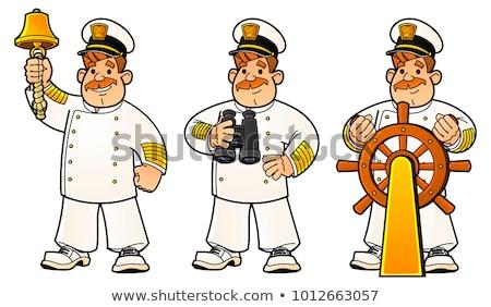 Foto stock: Desenho · animado · marinheiro · assinar · ilustração · feliz · homens