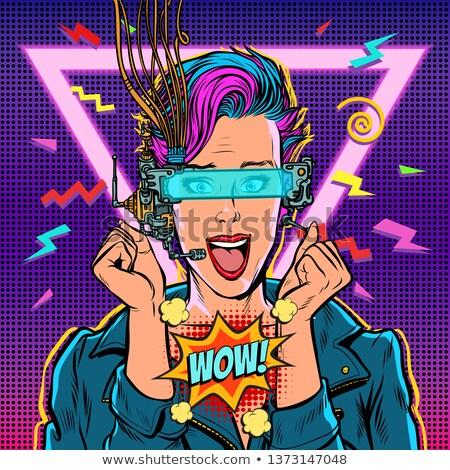 wow joy vr glasses woman gamer virtual reality online. 80s girl Stock photo © studiostoks
