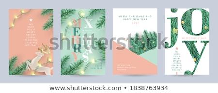 Noel altın çam ağacı dekorasyon düzen kart Stok fotoğraf © cienpies