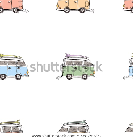 Vintage hand drawn surfing car seamless. Summer pattern. Retro surf transportation wallpaper. Textur Stock photo © JeksonGraphics