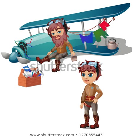 Pilot crashed and bearded isolated on white background. Vector cartoon close-up illustration. Stock photo © Lady-Luck
