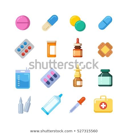 Médication pilules icône design presse-papiers médicaux Photo stock © WaD