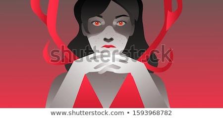 Ritratto pazza donna buio i capelli ricci indossare Foto d'archivio © deandrobot