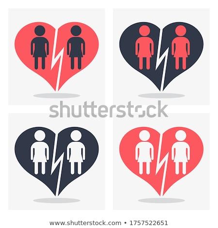 Férfi pár piktogram szivárvány zászló homoszexuális Stock fotó © dolgachov