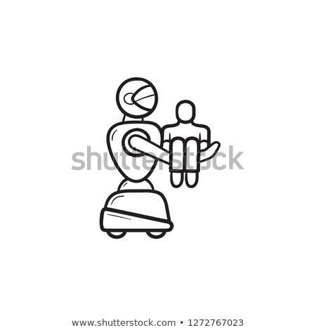 medical robot carrying patient hand drawn outline doodle icon stock photo © rastudio