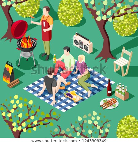 BBQ Barbecue Party People Icon Vector Illustration Stock photo © robuart
