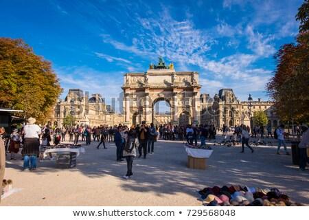 Arc de Triomphe Parijs detail Frankrijk stad Blauw Stockfoto © boggy