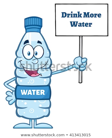 water plastic bottle cartoon mascot character holding up a sign with text stock photo © hittoon