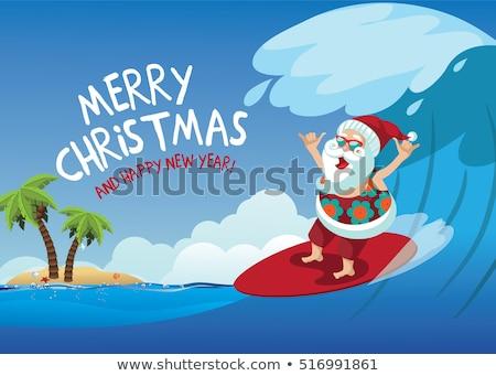 Сток-фото: Santa Claus Surf Beach Christmas Background Sign