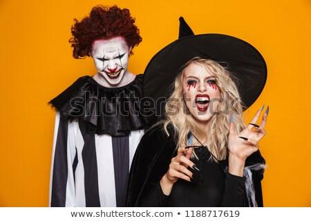 Clown zwarte kostuum halloween make naar Stockfoto © deandrobot