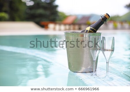 champagne glasses and bottle in ice bucket near swimming pool stock photo © dashapetrenko