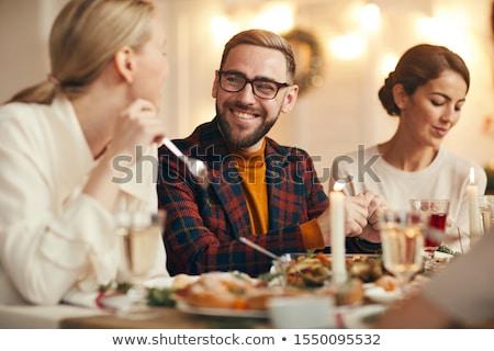 Gelukkig paar eten christmas diner vakantie Stockfoto © dolgachov