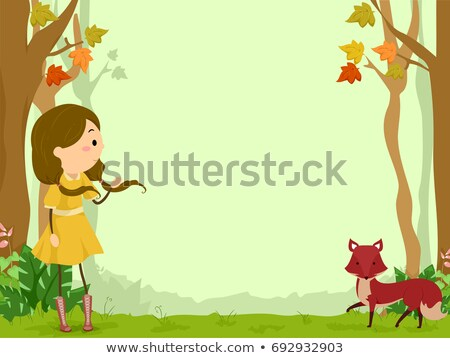 Gyerek lány róka háttér illusztráció hív Stock fotó © lenm