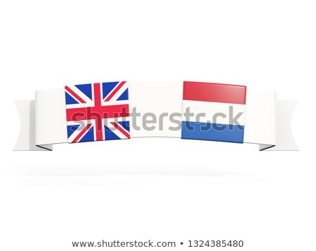 Banner with two square flags of United Kingdom and netherlands Stock photo © MikhailMishchenko
