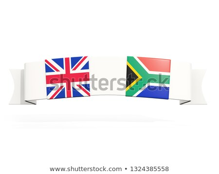 banner with two square flags of united kingdom and south africa stock photo © mikhailmishchenko