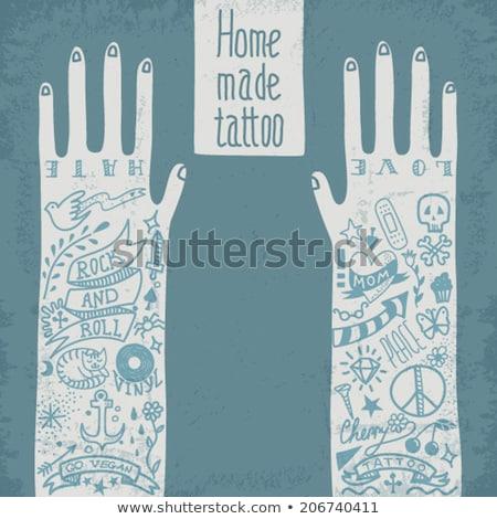 rózsa · kard · tetoválás · divat · szív · szépség - stock fotó © netkov1