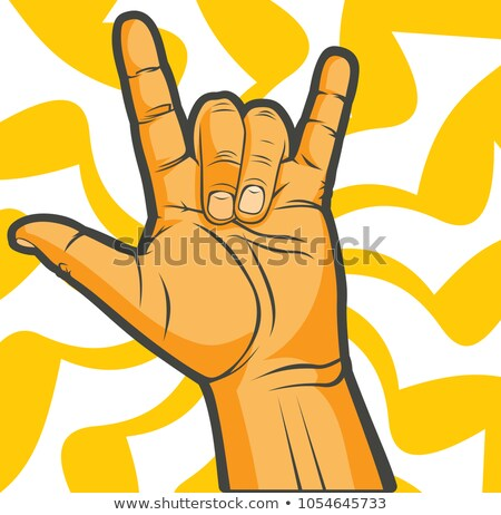 popular Rock and Metal Devil Horns Gesture Poster Stock photo © robuart