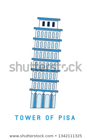 Line art Leaning Tower of Pisa, Italy, European famous sight, vector illustration in flat style. Stock photo © MarySan