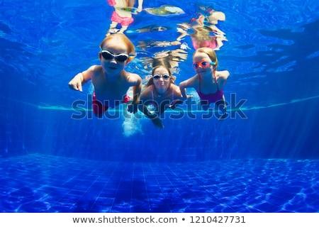 boldog · nyár · nő · napszemüveg · medence · portré - stock fotó © boggy