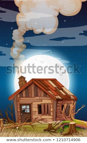 Old wooden house on fullmoon night Stock photo © colematt