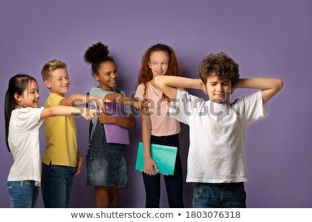 fiú · megfélemlítés · lány · gonosz · kicsi · gyerek - stock fotó © colematt