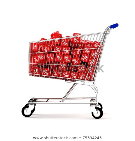 steel shopping basket percent sign 3d stock photo © djmilic