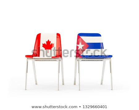 two chairs with flags of canada and cuba stock photo © mikhailmishchenko