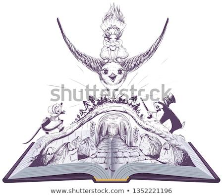 Stock photo: Girl Thumbelina flies on swallow. open book fairy tale illustration