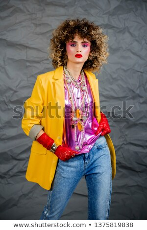 Disco woman dancing, eighties style 80s. Afro hairstyle Stock photo © studiostoks