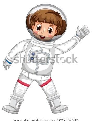 Foto stock: Menina · astronauta · mão · ilustração · criança
