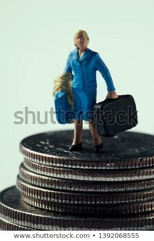Miniatuur vrouw koffer dollar munten Stockfoto © nito