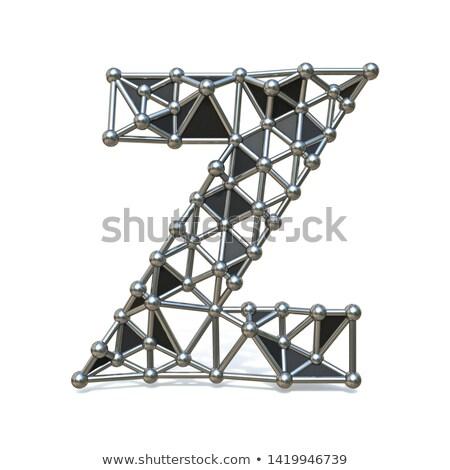 Wire low poly black metal Font Letter Z 3D Stock photo © djmilic