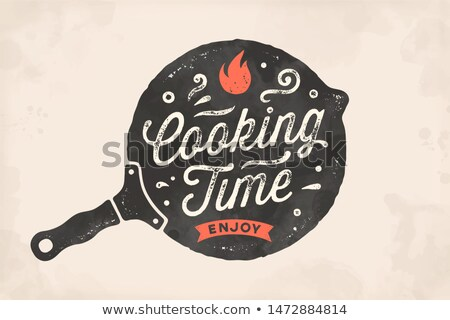 Stockfoto: Koken · tijd · keuken · poster · muur