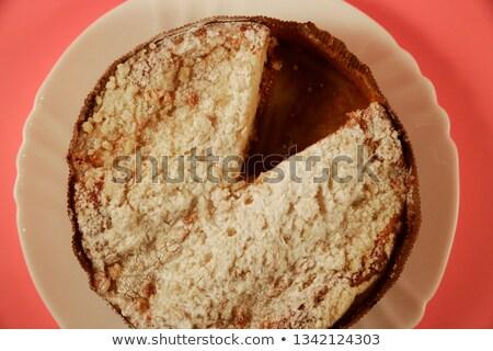 Szelet házi készítésű alma piskóta rózsaszín tányér Stock fotó © Melnyk