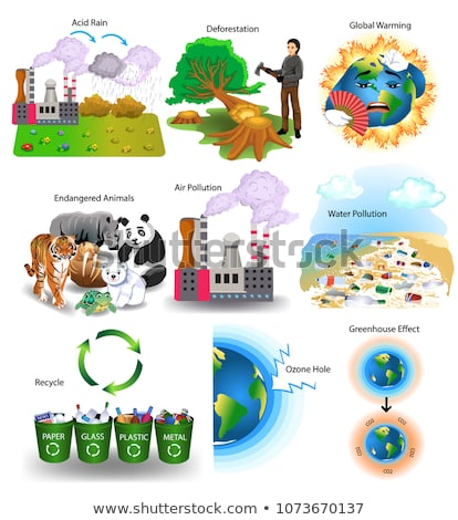 Pollution in Atmosphere, Acid Rain, Recycle Vector Stock photo © robuart