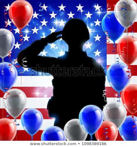 Сток-фото: Saluting Soldier American Flag Balloon Background