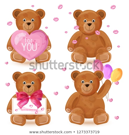 Teddy bear set Vector. Romantic cute cartoon bears lovely symbol Stock photo © frimufilms