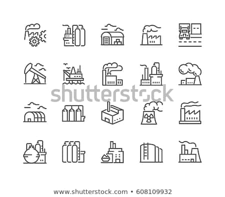 Industrial Plant Building Vector Thin Line Icon Stock photo © pikepicture