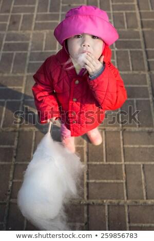 Pequeño cute nina algodón dulces otono Foto stock © dashapetrenko