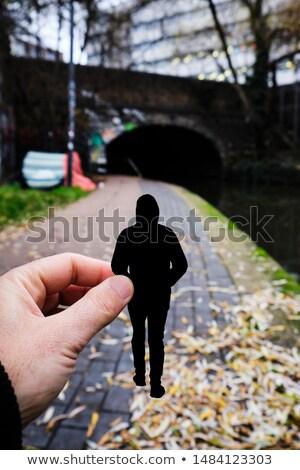 Sylwetka człowiek kanał Londyn strony Zdjęcia stock © nito