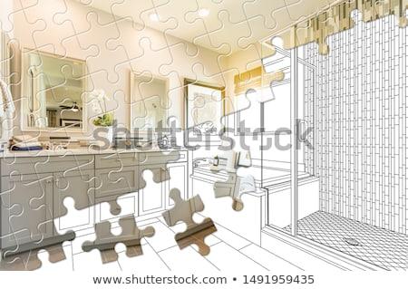 Kirakó darabok együtt befejezett fürdőszoba épít rajz Stock fotó © feverpitch