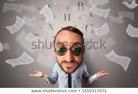 Big head on small body with flying documents Stock photo © ra2studio