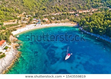 Aerial view of Korcula island beach in Pupnatska Luka cove Stock photo © xbrchx