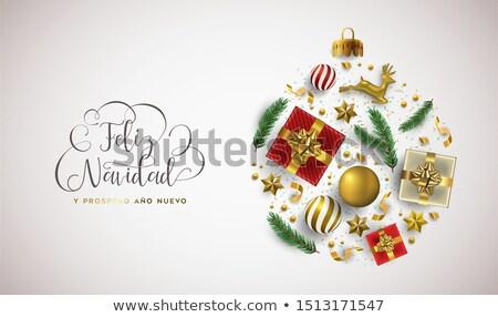 Nowy rok hiszpanski karty złota wakacje ozdoba Zdjęcia stock © cienpies