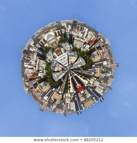 urban cityscape of novosibirsk russia little planet panorama stock photo © hasloo