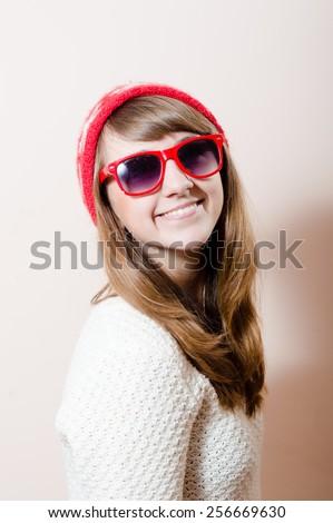 Portrait of a surprised girl in woolen cashmere sweater Stock photo © zastavkin
