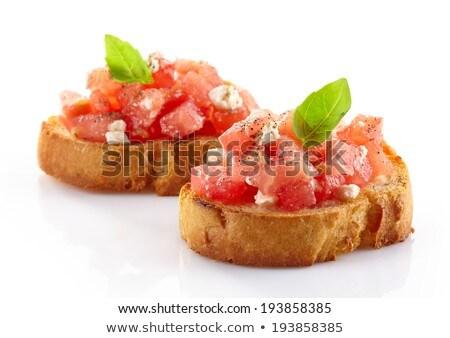 Isolato bruschetta cena pomodoro bianco pepe Foto d'archivio © M-studio